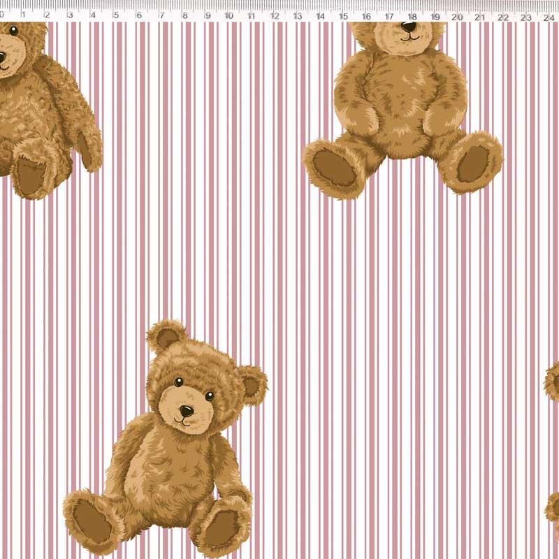 Fernando Maluhy - Coleção Teddy Bear -  Urso Com Listras Rose - 50cm X 150cm