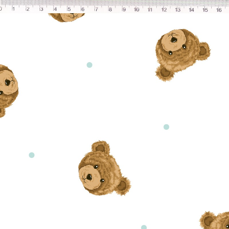Fernando Maluhy - Coleção Teddy Bear - Urso Com Poá Azul Claro - 50cm X150cm