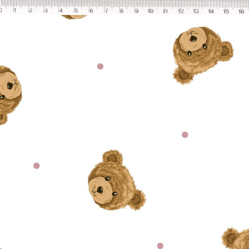 Fernando Maluhy - Coleção Teddy Bear - Urso com Poá Rose - 50cm X150cm