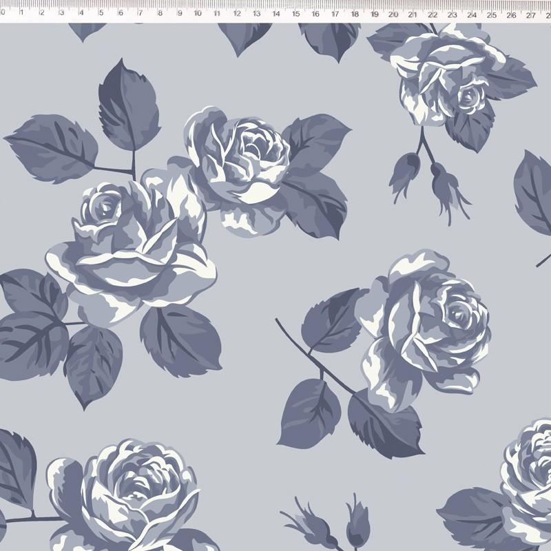 Fernando Maluhy - Coleção Vintage Rose - Rosa Grande Azul - 50cm X150cm