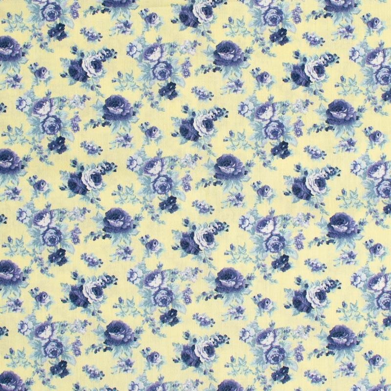 Fernando Maluhy - Floral Azul Com Fundo Branco - 50cm X150cm