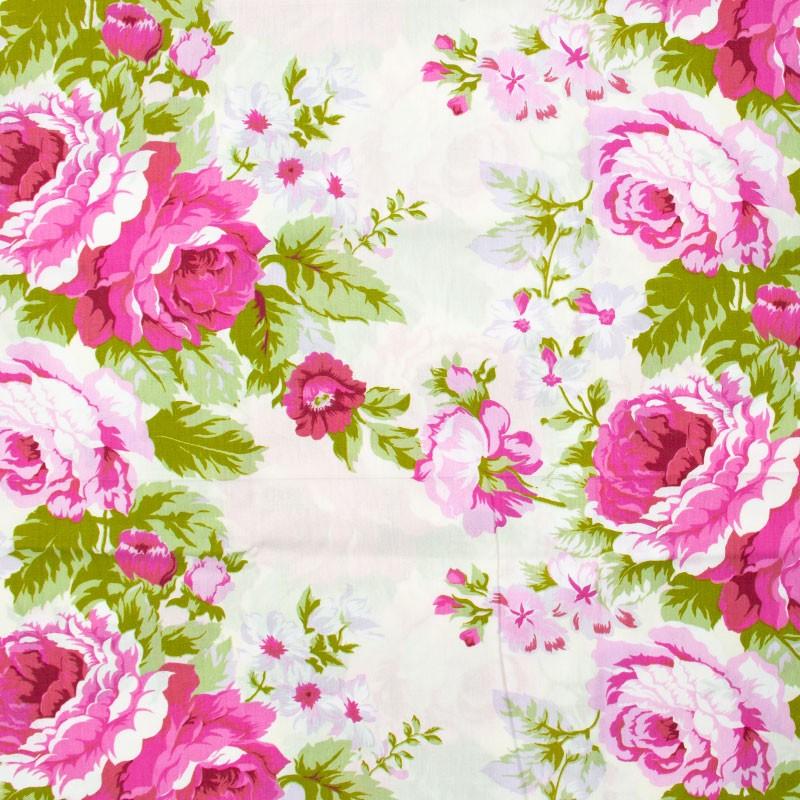 Fernando Maluhy - Floral Grande Rosas Rose Folhas Verdes Com Fundo Branco - 50cm X150cm
