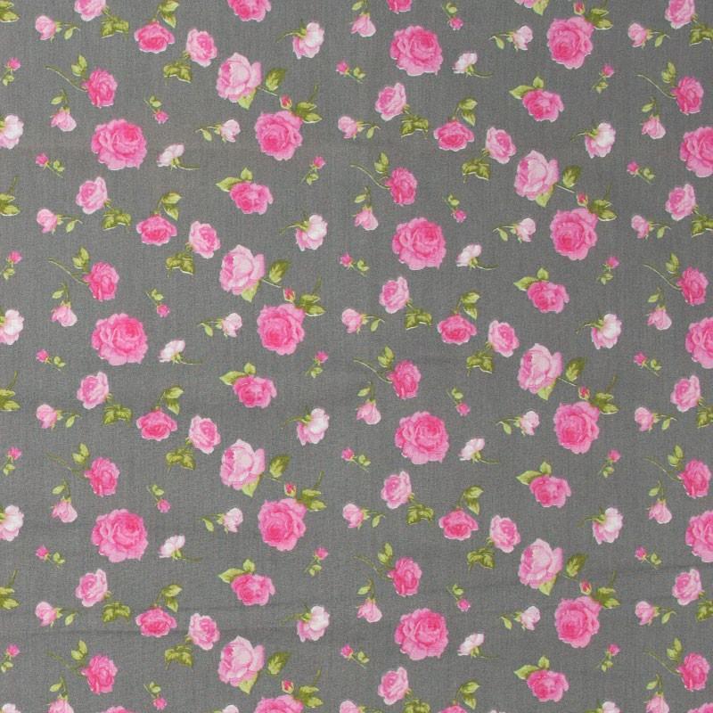 Fernando Maluhy - Floral Rosa Com Fundo Cinza - 50cm X150cm