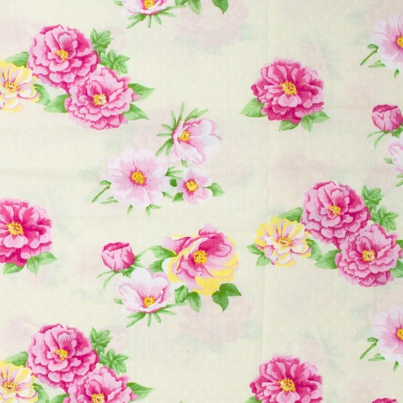 Fernando Maluhy -  Floral Rosa Com Fundo Creme - 50cm X150cm