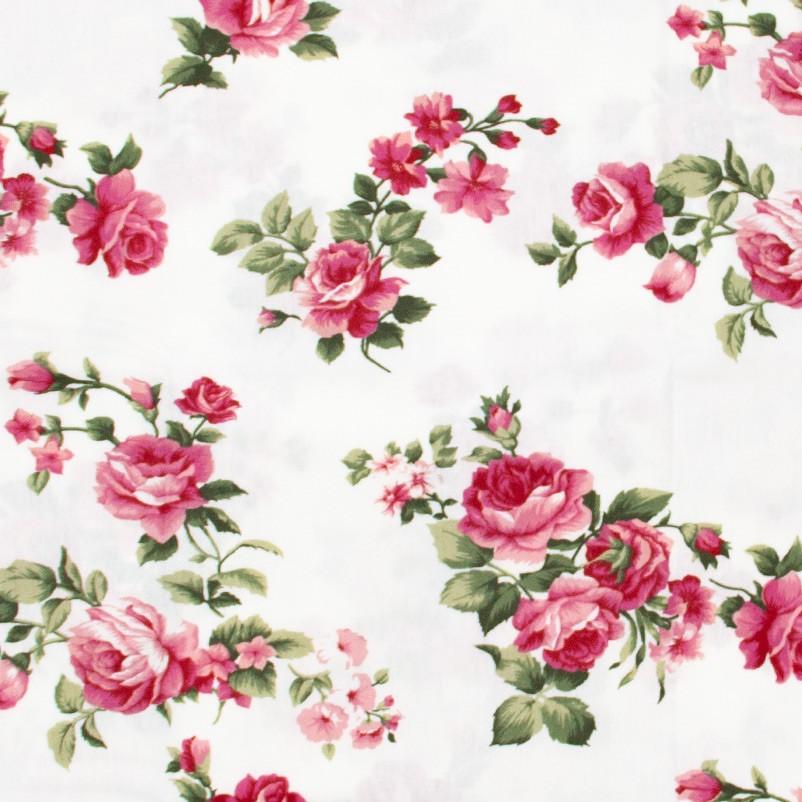 Fernando Maluhy - Flores Rosas Com Fundo Branco - 50cm X150cm