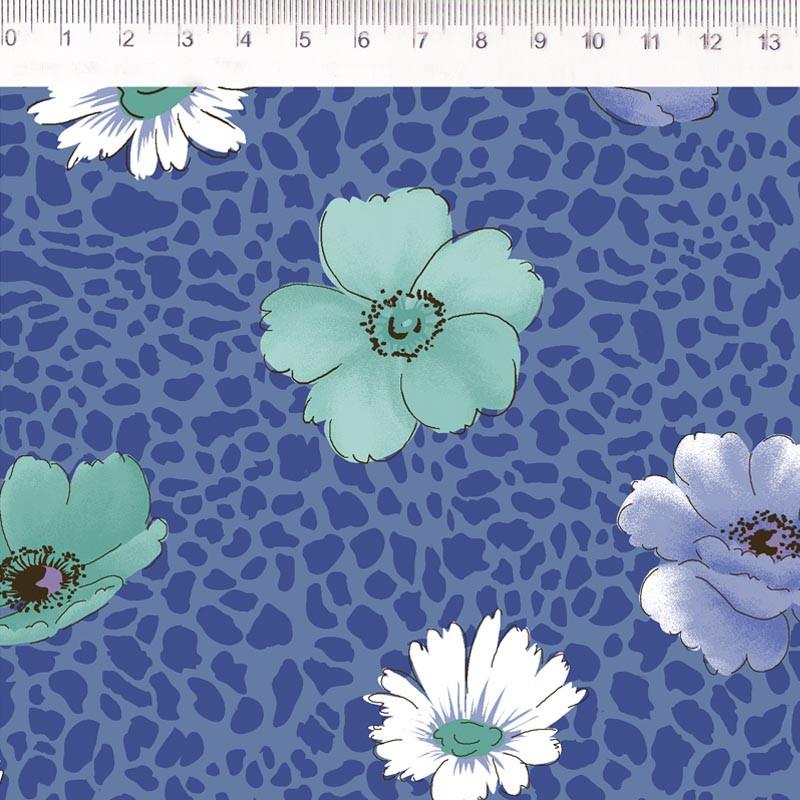 Fernando Maluhy - Papoula Com Textura Azul - 50cm X150cm