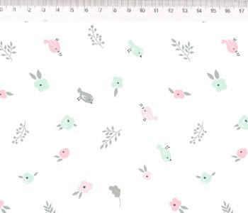 Fernando Maluhy Por Eliana Sposito -Pássaro Menta & Rose Fundo Branco  - 50cm X150cm