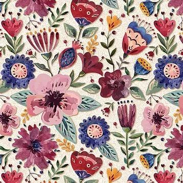 Fuxicos e Fricotes Coleção Elegance - Floral Elegance Claro - 50cm X150cm