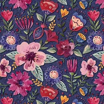 Fuxicos e Fricotes Coleção Elegance - Floral Elegance Escuro - 50cm X150cm
