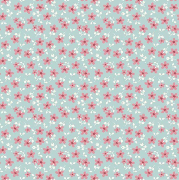 Fuxicos e Fricotes Coleção Garden - Mini Floral Garden Azul - 50cm X150cm