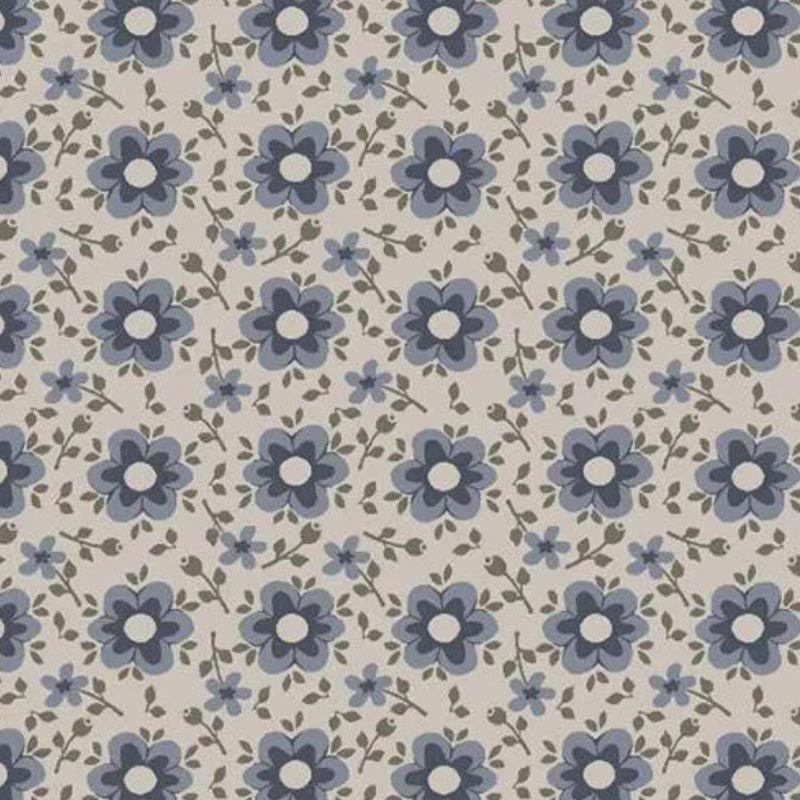 Fuxicos e Fricotes Coleção Jardim Delicado - Florido Delicado Azul - 50cm X150cm
