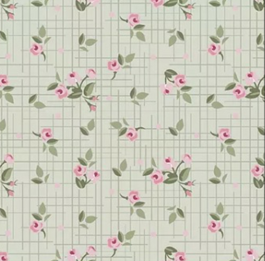 Fuxicos e Fricotes - Mini Floral Verde - 50cm X150cm