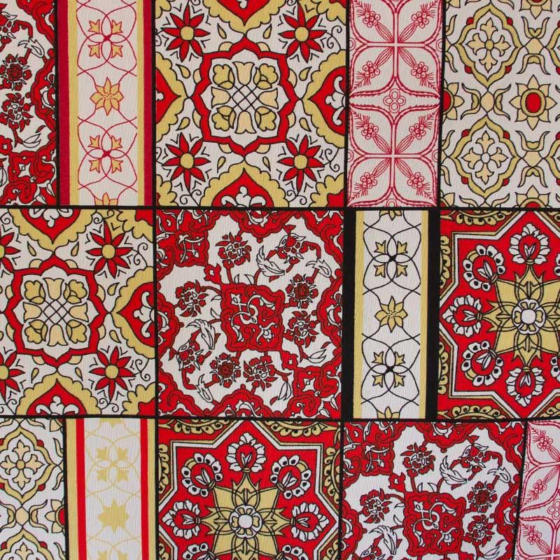 Tecido Gorgurão - Mandalas Vermelho - 50cm x 140cm