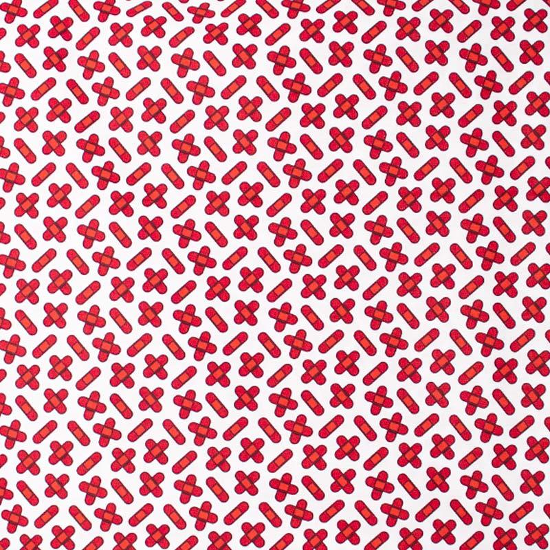 Igaratinga - Coleção Medicina - Curativo Vermelho Fundo Branco - 50cm X150cm