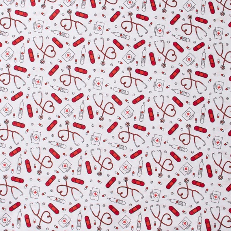 Igaratinga - Coleção Medicina - Instrumentos Vermelho Fundo Branco - 50cm X150cm