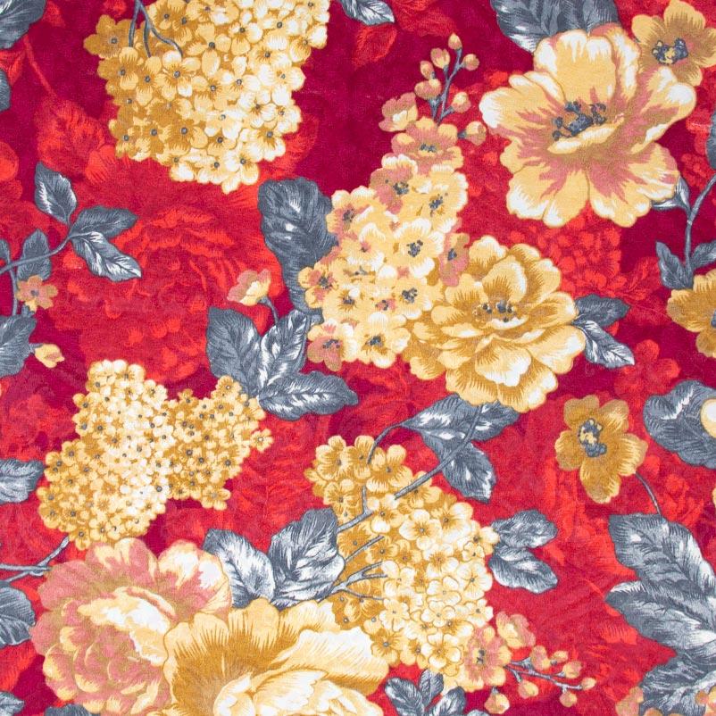 Jacquard - Floral Fundo Vermelho - 50cm x 140cm