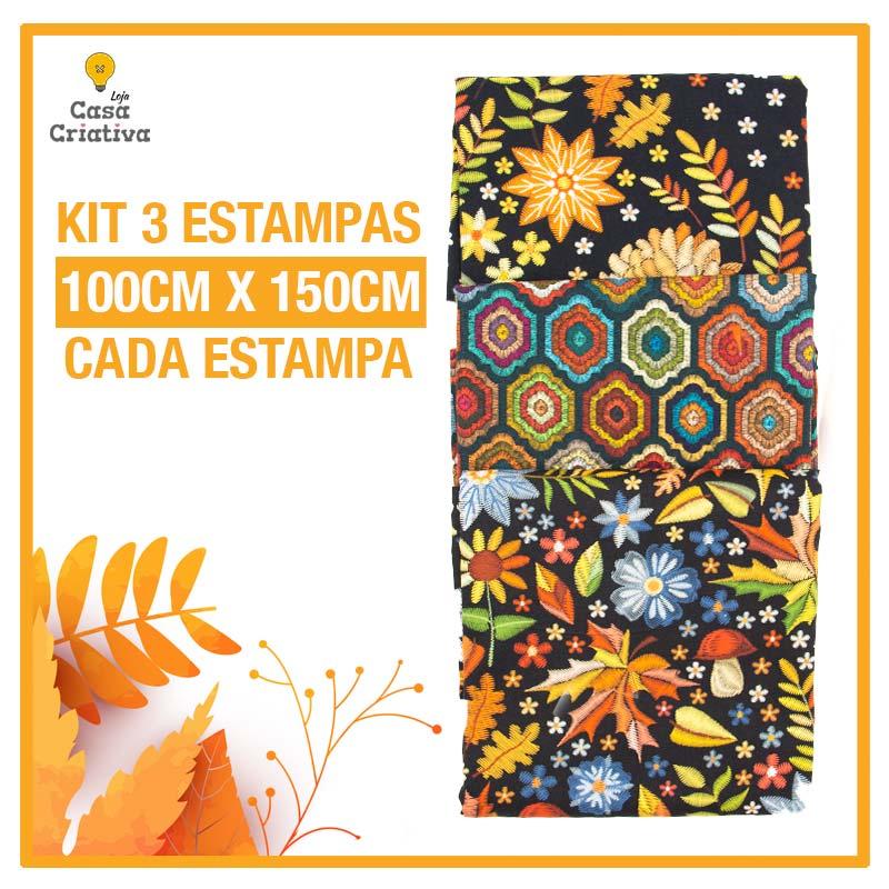 Kit 1 Exclusivo Casa Criativa - Coleção Bordados de Outono - 100cm x 150cm (Cada Estampa)