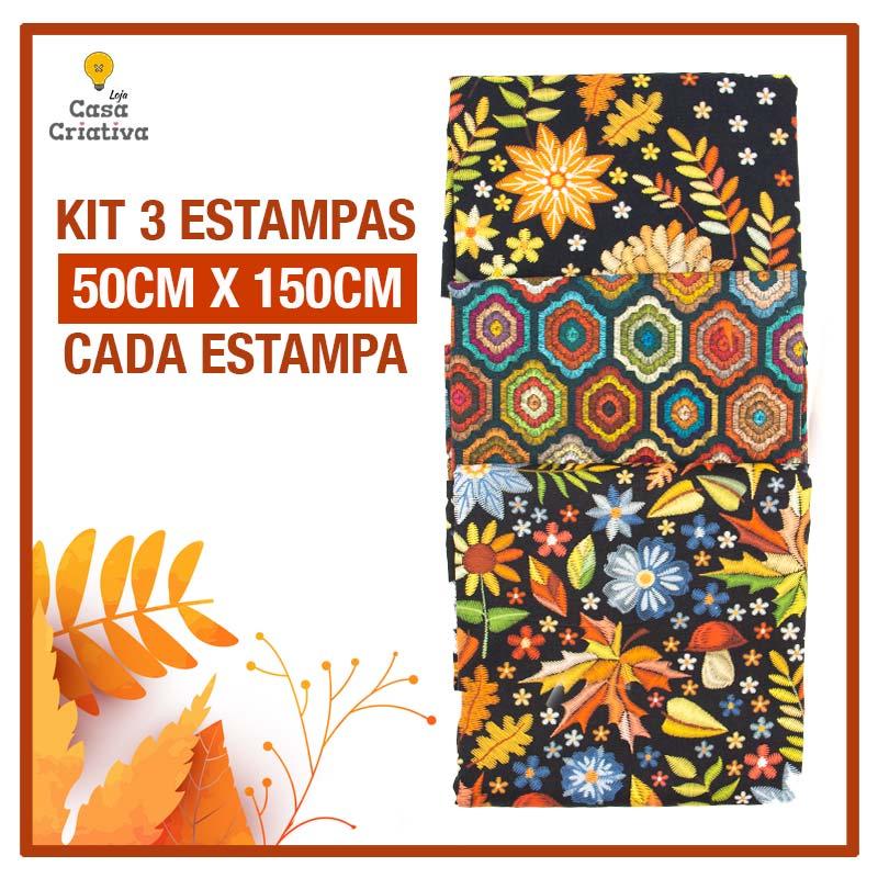 Kit 1 Exclusivo Casa Criativa - Coleção Bordados de Outono - 50cm x 150cm (Cada Estampa)