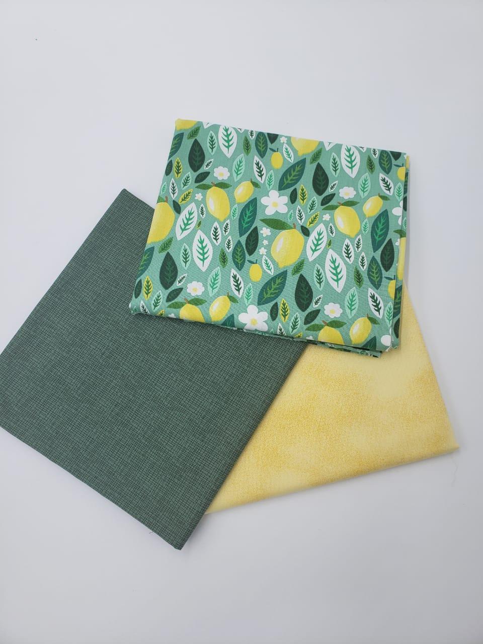 Kit 3 Estampas Compose Amarelo e Verde (50cm x 150cm por estampa)