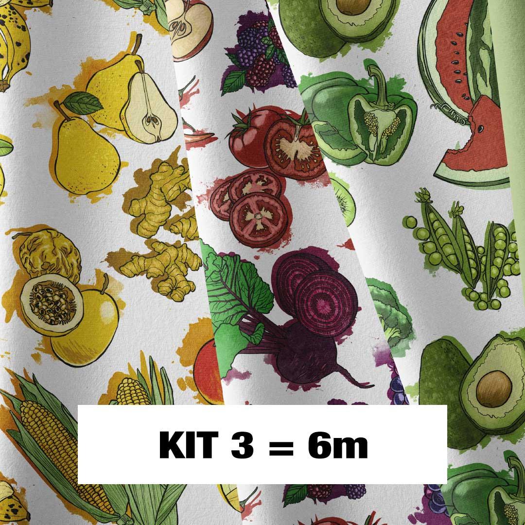 Kit 3 Exclusivo Casa Criativa - Coleção Fartura - 200cm x 150cm (Cada Estampa)