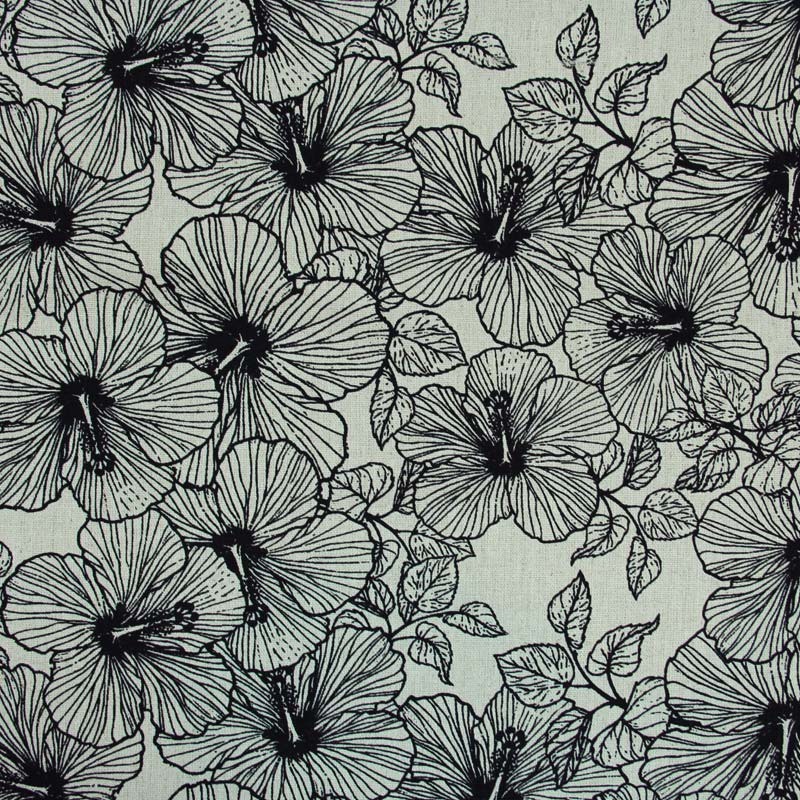 Linho Misto - Estampa Floral Outline - 50cm x 140cm