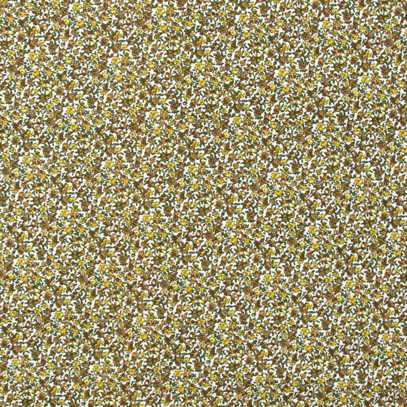 Mini Floral Marrom/Amarelo Com Fundo Branco - 50cm X150cm