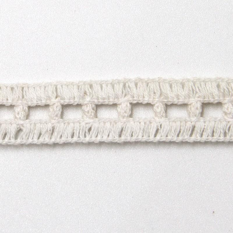 Renda de Algodão Branco Tipo Entremeio - Quadradinho Simples - Largura 1,3cm