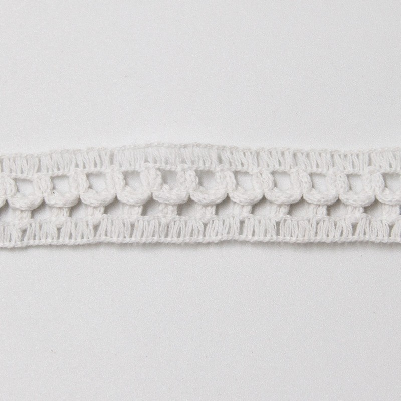 Renda de Algodão Branco Tipo Entremeio - Quadradinho Simples Pequeno - Largura 2cm