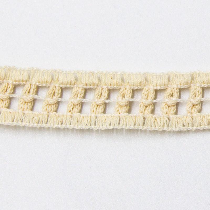 Renda de Algodão Crú Tipo Entremeio - Quadradinho Duplo - Largura 2cm