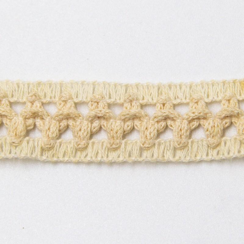 Renda de Algodão Crú Tipo Entremeio - Quadradinho Simples Pequeno - Largura 2cm