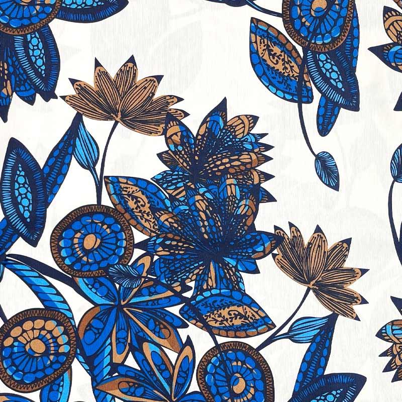 Tecido AcquaBlock - Azul Fundo Branco - 50cm x 140cm
