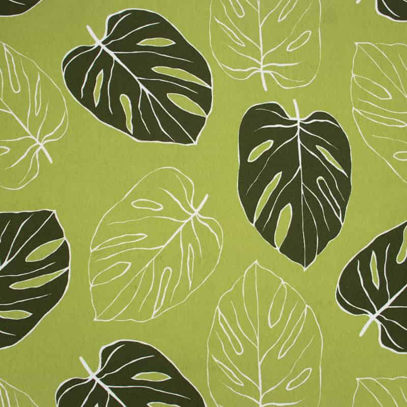Tecido Gorgurão Estampado - Costela de Adão Verde - 50cm X140cm