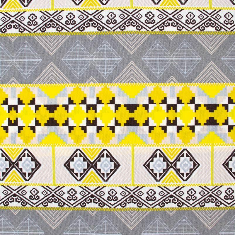 Tecido Gorgurão - Étnico Amarelo Rosa Cinza - 50cm x 140cm