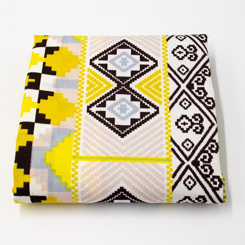 Tecido Gorgurão - Étnico Amarelo Cinza - 50cm x 140cm