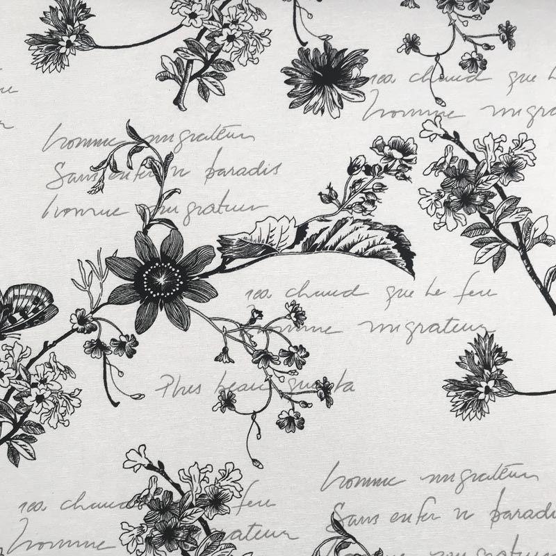 Tecido Gorgurão - Flores e Frases Preto Fundo Branco - 50cm x 140cm