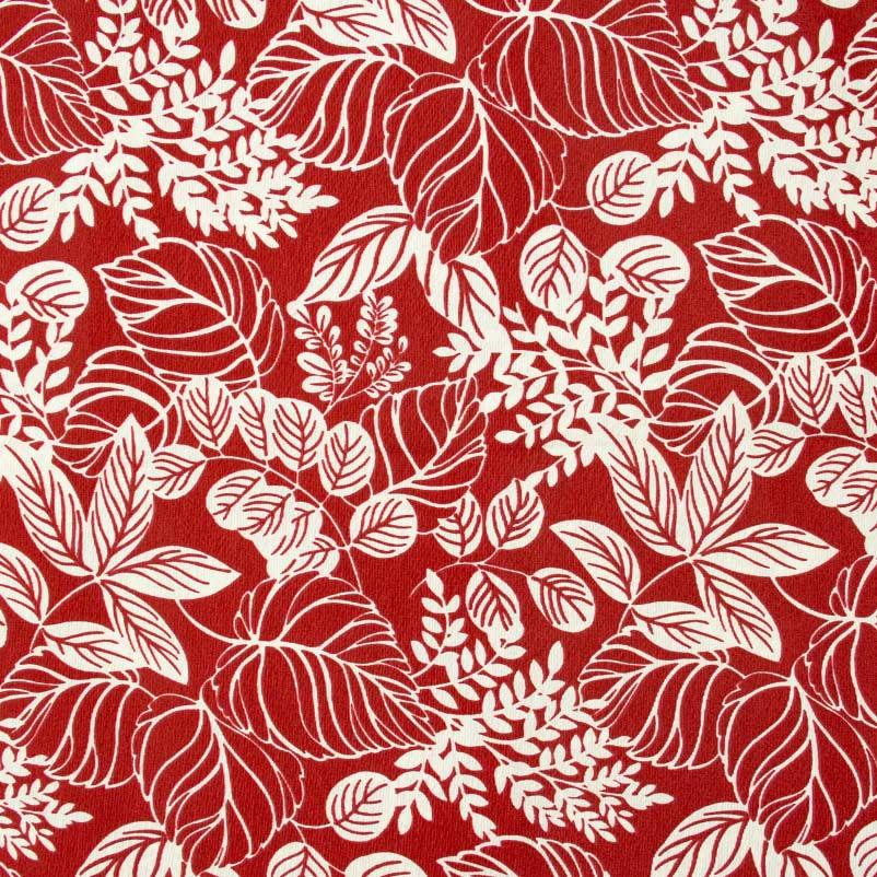 Tecido Gorgurão - Folhas Fundo Vermelho - 50cm x 140cm
