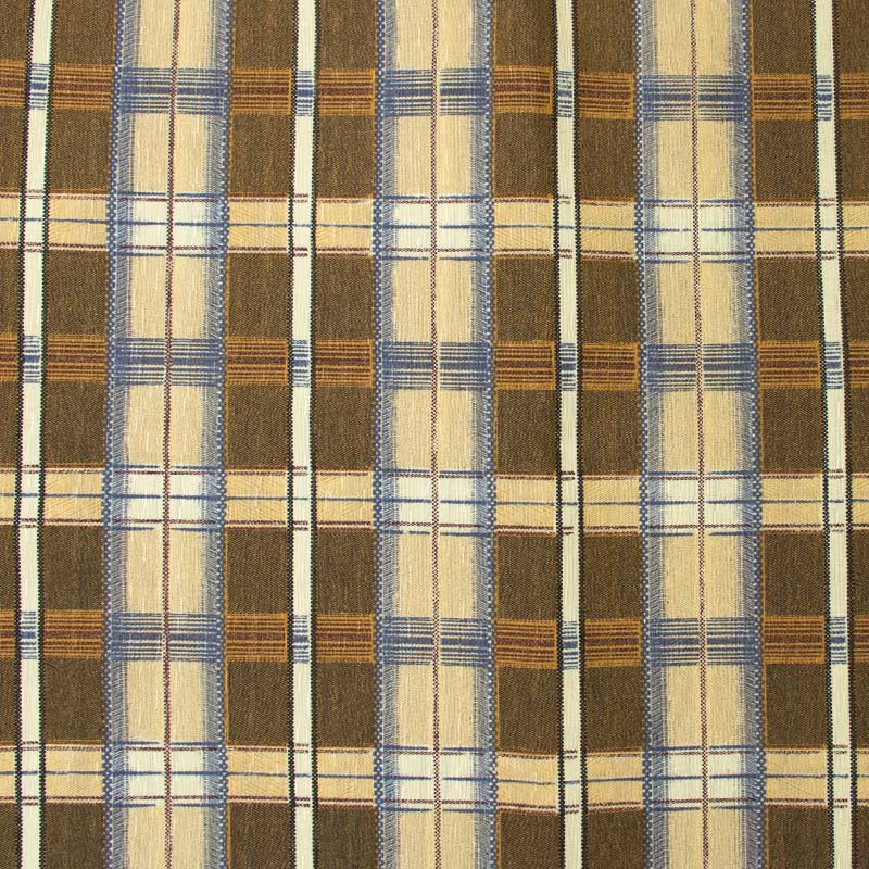 Tecido Gorgurinho - Xadrez Cinza/Bege Listras Azul - 50cm x 150cm