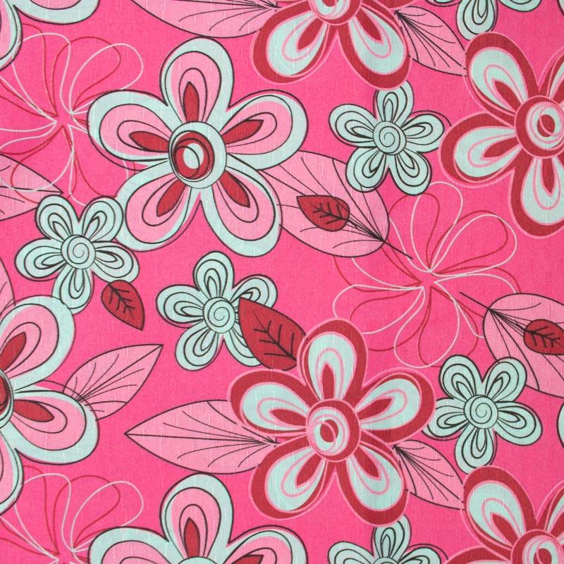 Tecido Gorgurinho - Flores Alegres Fundo Rosa - 50cm x 150cm