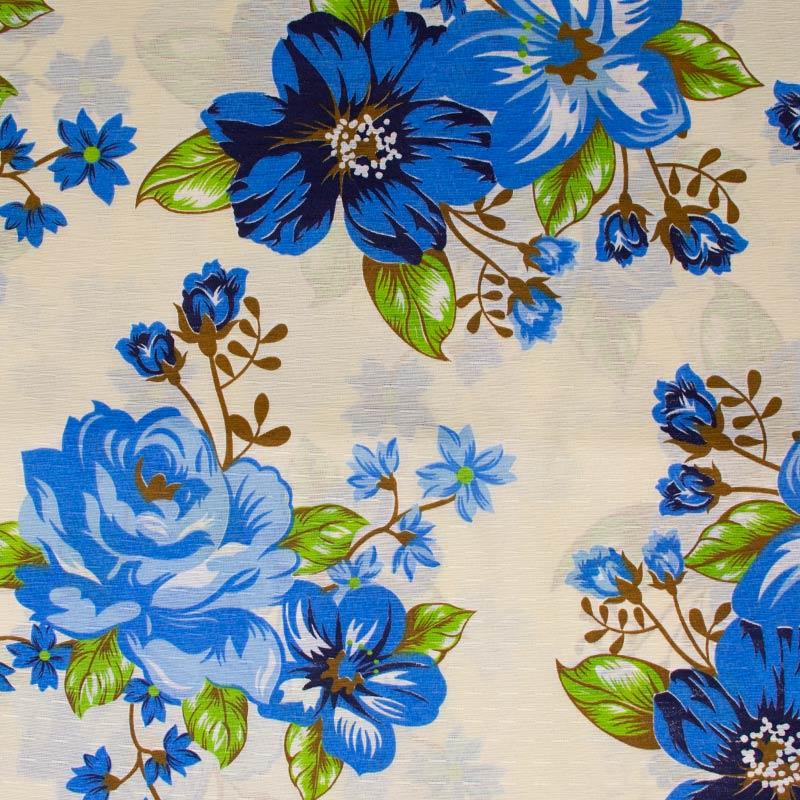 Tecido Gorgurinho - Flores Azul Com Fundo Cinza Ágata - 50cm x 150cm