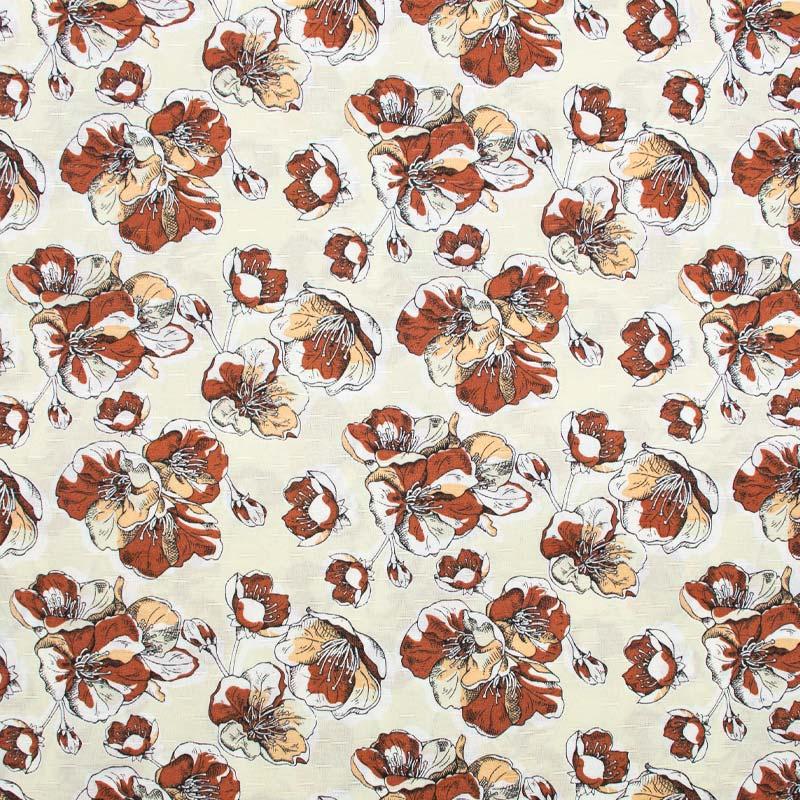 Tecido Gorgurinho - Papoulas Marrom Fundo Creme - 50cm x 150cm