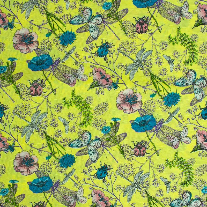 Tecido Gorgurinho - Flores e Borboletas Fundo Amarelo - 50cm x 150cm
