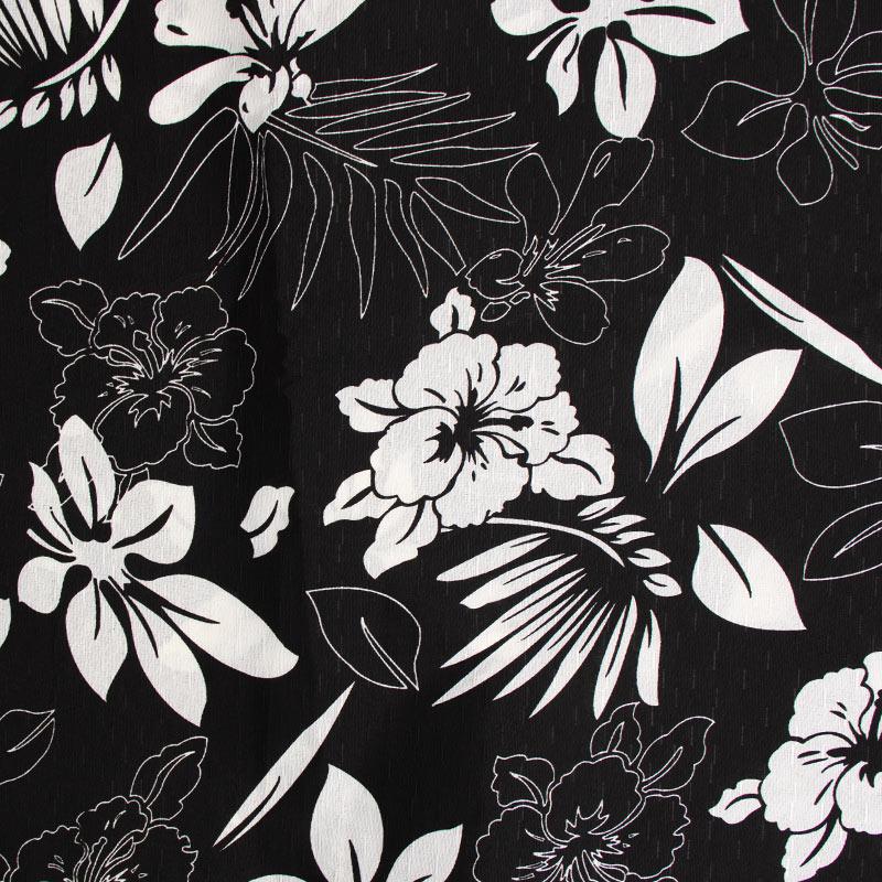 Tecido Gorgurinho - Flores/Folas Branco Com Fundo Preto - 50cm x 150cm