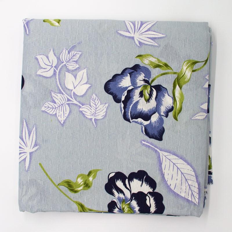 Tecido Gorgurinho - Flores Marinha Roxa/Preto Com Fundo Cinza Filipina - 50cm x 150cm