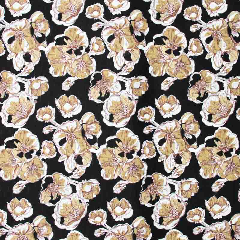 Tecido Gorgurinho - Flores Marrom Com Fundo Preto  - 50cm x 150cm