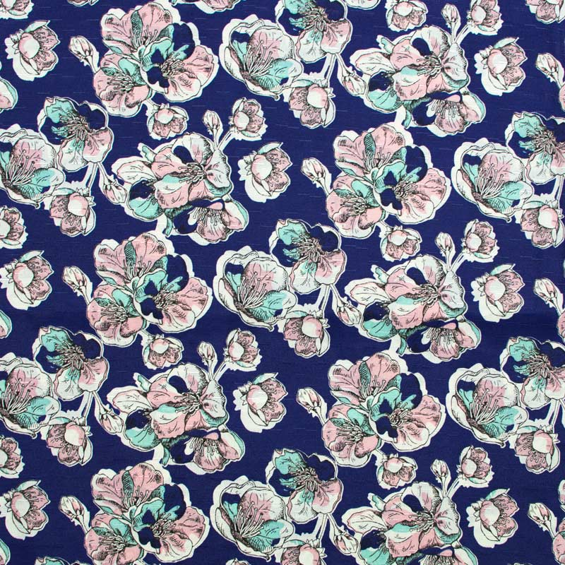 Tecido Gorgurinho - Flores Psico Fundo Marinho - 50cm x 150cm