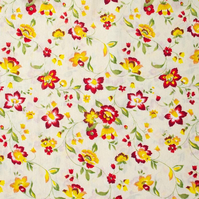 Tecido Gorgurinho - Flores Vermelho/Amarelo Com Fundo Bege - 50cm x 150cm