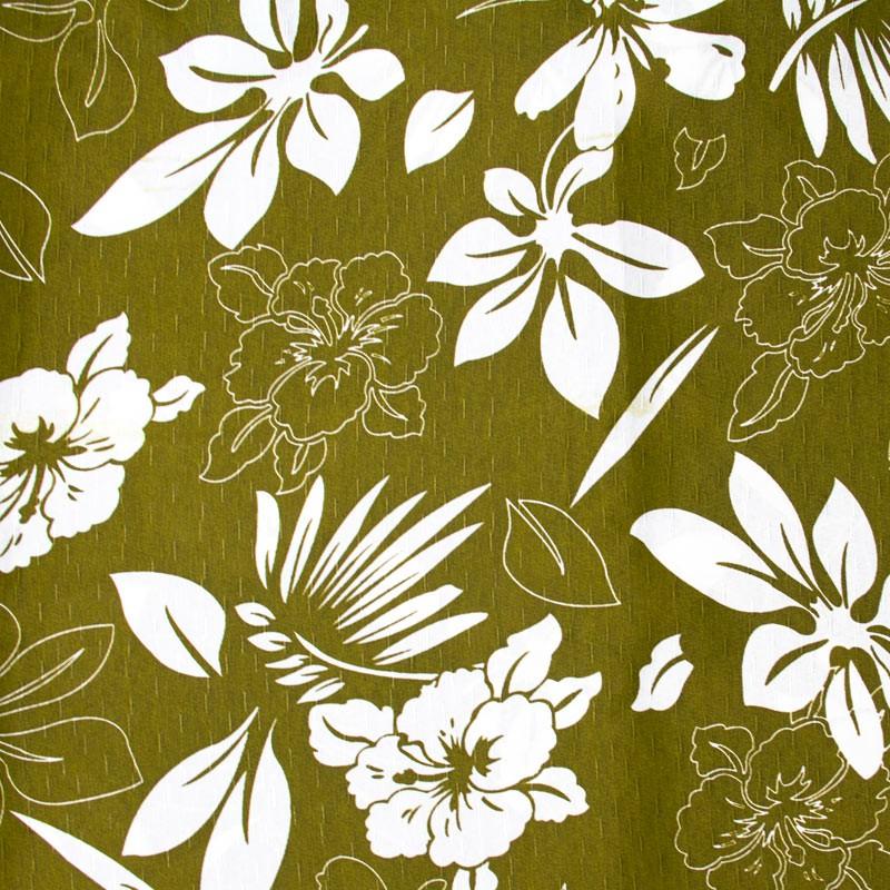 Tecido Gorgurinho - Folhas/Flores Branco/Preto Com Fundo Verde Marrom - 50cm x 150cm