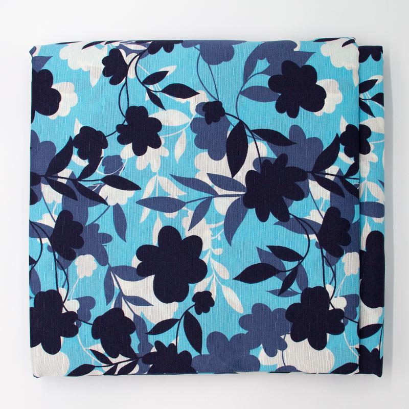 Tecido Gorgurinho - Folhas/Flores Branco/Preto  Com Fundo Azul - 50cm x 150cm
