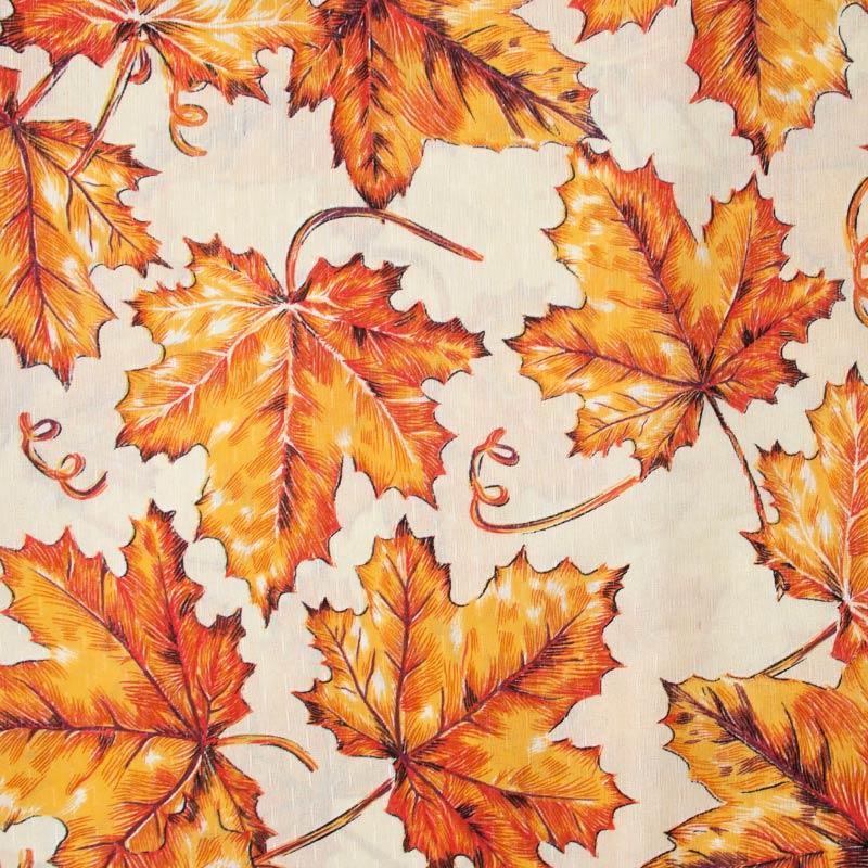 Tecido Gorgurinho - Folhas Laranjas Com Fundo Creme- 50cm x 150cm