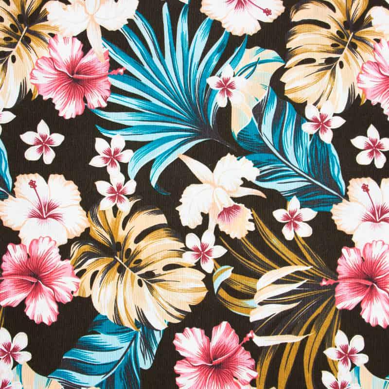 Tecido Impermeável Estampado - Floral Rosa Fundo Preto - 50cm x 140cm
